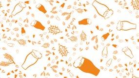Текстурируйте безшовную картину пестротканых стекел кружек с лагером и стаутом света пива пены темными с ветвями хмеля иллюстрация вектора