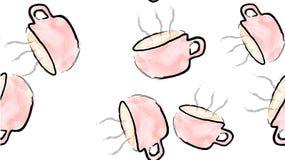 Текстурируйте безшовную картину розовых чашек кружек с ручкой горячего очень вкусного поддерживая черного кофе покрашенного с иллюстрация вектора