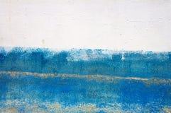 Текстурируйте белизну и покрашенную синью железную стену Стоковая Фотография RF