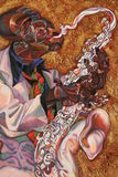 Текстурируйте картину маслом, крася автора римского Nogin, серия джаза ` ` Стоковое Изображение RF