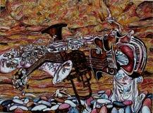 Текстурируйте картину маслом, крася автора римского Nogin, серия джаза ` ` Стоковые Изображения RF