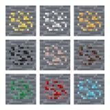 Текстурируйте для вектора искусства пиксела platformers: облицуйте блоки руды минеральные: серебр, золото, уголь, самоцвет, утюг иллюстрация вектора
