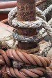 Текстуры веревочки на гавани Стоковая Фотография