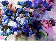 Текстуры ветви цветения полевых цветков предпосылки конспекта искусства акварели мытье флористической влажное запачкало фантазию Стоковые Изображения RF