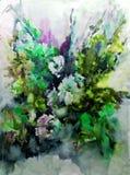 Текстуры ветви цветения полевых цветков предпосылки конспекта искусства акварели мытье флористической влажное запачкало фантазию Стоковое Изображение