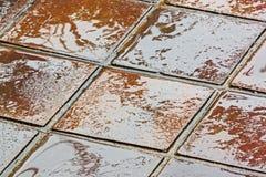Текстуры и красочные отражения Брайна и золотых на плитках Стоковая Фотография