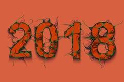 Текст вектора 2018 с зеленым влиянием плюща Номера построенные с волнистыми стержнями завода Зеленая форма лиан 2018 номеров Счас Стоковая Фотография RF