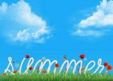 Текст веревочки лета в траве стоковая фотография