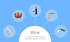 Текст вина и образца с иллюстрацией вектора значка Стоковые Фотографии RF