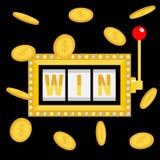 Текст выигрыша Торговый автомат Золотой дождь монетки денег летания Свет накаляя лампы Красный рычаг ручки Онлайн казино, играя в иллюстрация вектора