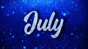 Текст в июле голубой желает приветствия частиц, приглашение, предпосылку торжества иллюстрация штока