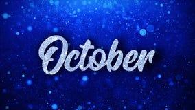 Текст в октябре голубой желает приветствия частиц, приглашение, предпосылку торжества иллюстрация вектора