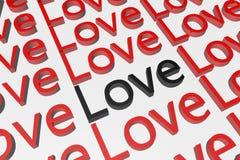 Текст влюбленности в 3D Иллюстрация штока