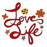 Текст влюбленности и жизни Стоковые Изображения RF