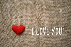текст влюбленности сердца i вы Стоковая Фотография RF