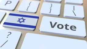 Текст голосования и флаг Израиля на кнопках на клавиатуре компьютера 3D анимация избрания родственная схематическая иллюстрация штока