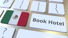 Текст ГОСТИНИЦЫ КНИГИ и флаг Мексики на кнопках на клавиатуре компьютера 3D анимация перемещения родственная схематическая видеоматериал