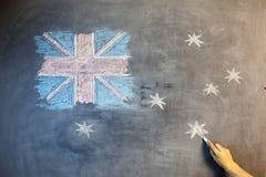 Текст дня ANZAC отрезал вне над фото австралийского флага Стоковые Изображения RF