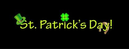 Текст дня St. Patrick с традиционными символами иллюстрация вектора