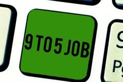 Текст 9 до почерка работа 5 Концепция знача занятость ежедневной по заведенному порядку классики календарного графика работы трад стоковое изображение rf