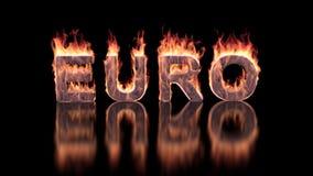 Текст евро горя в пламенах на лоснистой поверхности иллюстрация штока