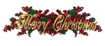 Текст золота веселого рождества элегантный иллюстрация штока