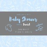 текст ливня карточки зайчика предпосылки младенца милый флористический Стоковая Фотография