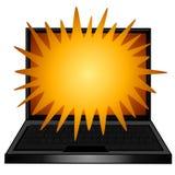 текст компьтер-книжки компьютера взрывая Стоковое Изображение