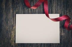 текст космоса тесемки вставки праздника конструкции рождества карточки красный к белизне Стоковое Фото