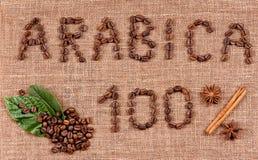 Текст кофейных зерен Стоковые Фотографии RF