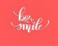 Текст литерности руки карты улыбки greating, каллиграфия чернил щетки, тип дизайн вектора бесплатная иллюстрация