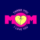 Текст мамы с дизайном логотипа птиц Стоковое Изображение RF