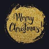 Текст на выплеске яркого блеска золота, вектор веселого рождества каллиграфический иллюстрация вектора