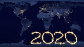текст 2020 на карте мира вечером стоковое изображение rf