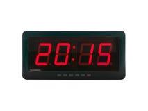 текст 2015 на стороне цифровых часов изолированной на белой предпосылке, идеях о времени Стоковые Изображения RF