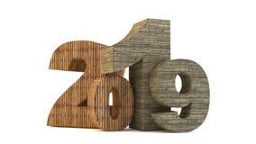 Текст 2019 Нового Года деревянный иллюстрация штока