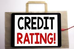 Текст объявления почерка показывая оценку кредитоспособности Концепция дела для истории счета финансов написанной на хозяйственно стоковое изображение rf