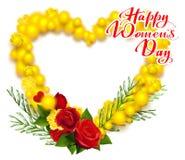 Текст 8-ое марта дня счастливых женщин Желтое сердце венка мимозы и красной розы формирует поздравительную открытку Стоковое Изображение