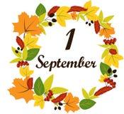 Текст 1-ое сентября на предпосылке листьев иллюстрация штока
