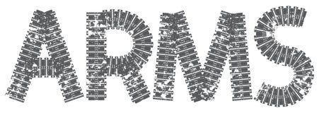 Текст оружий при письма сделанные следов танка Стоковое фото RF