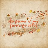 Текст осени вдохновляющий с листьями Стоковое фото RF