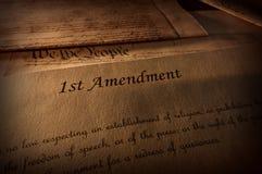 Текст Первой поправки к Конституции США стоковые изображения rf