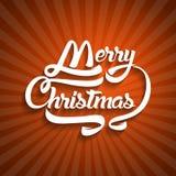 Текст поздравительной открытки рождества С Рождеством Христовым литерность, вектор Стоковые Изображения