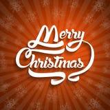 Текст поздравительной открытки рождества С Рождеством Христовым литерность, вектор Стоковое Изображение