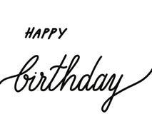 Текст помеченный буквами рукой с днем рождения изолированный на белизне стоковое изображение