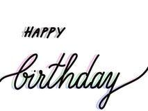 Текст помеченный буквами рукой с днем рождения изолированный на белизне стоковая фотография rf