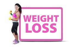 Текст потери веса женщины фитнеса Стоковые Фотографии RF