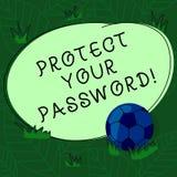 Текст почерка защитить ваш пароль Смысл концепции защищает информацию доступную через футбольный мяч компьютеров на траве и бесплатная иллюстрация