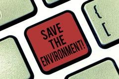 Текст почерка за исключением окружающей среды Смысл концепции защищая и сохраняя клавишу на клавиатуре природных ресурсов стоковая фотография rf