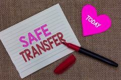 Текст почерка писать безопасный переход Концепции смысла провода переходов тетрадь p части сделки электронно бумажная стоковое фото